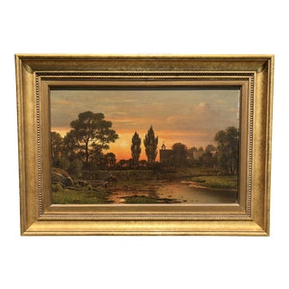 Hudson River School Landscape Oil Painting on Canvas by Charles W. Knapp For Sale