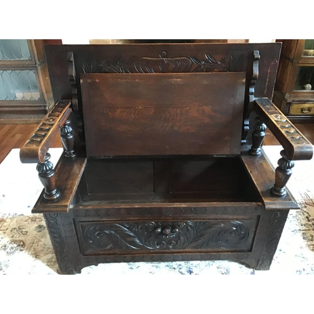 Late 19th Century Antique Brown Monks Bench For Sale - Image 9 of 13