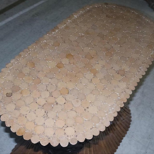 1950s Large McGuire Rattan Trompe L' Oeil Tole Pedestal Dining Table or Center Table With Oval Glass Top 1950's For Sale - Image 5 of 10
