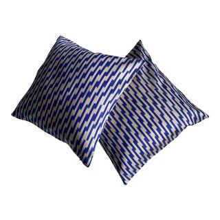 Contemporary Silk Ikat Pillow Covers- a Pair For Sale