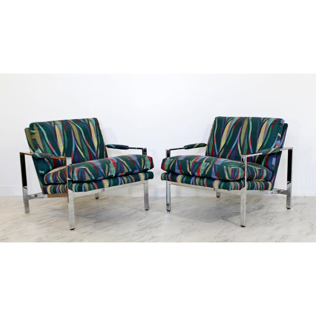 1970s Mid Century Modern Milo Baughman Flatbar Lounge Chairs - a Pair For Sale - Image 9 of 9