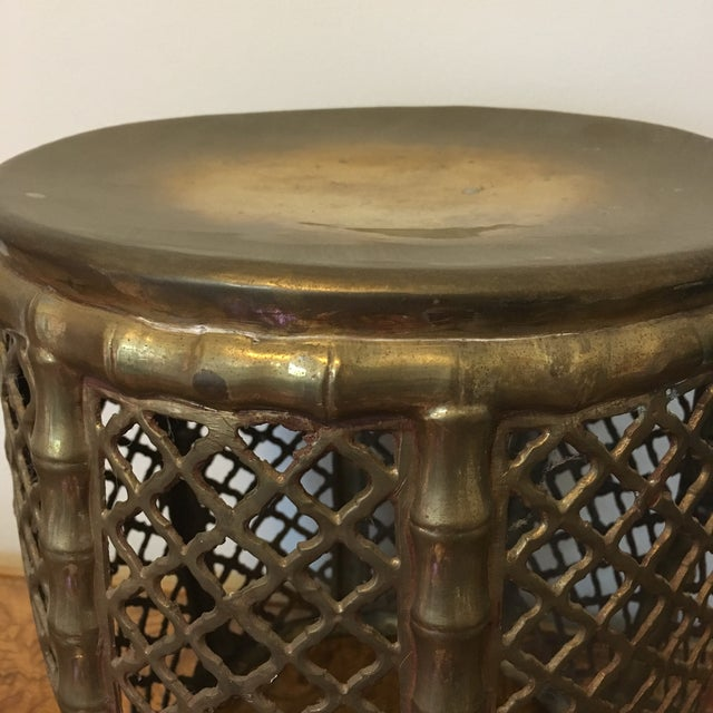 Asian Brass Faux Bamboo Garden Stool For Sale - Image 3 of 5