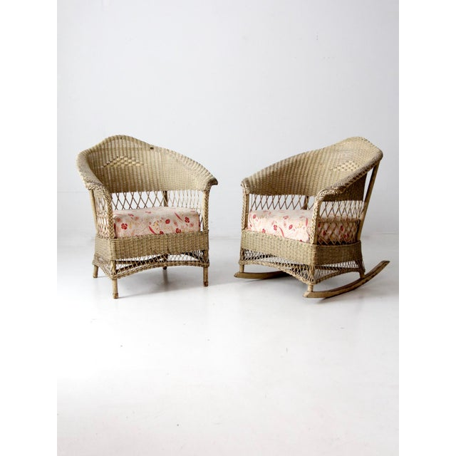 Antique Wicker Chair and Rocker For Sale - Image 11 of 11