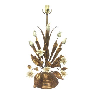 Italian Gilt Tole Lamp With Daisies and Tulips For Sale