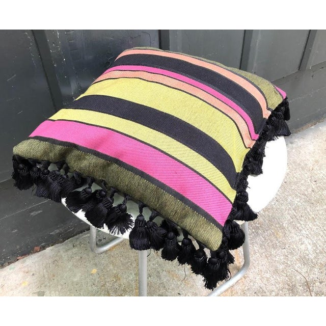 Black & Multicolored Striped Tasseled Throw Pillow For Sale - Image 4 of 5