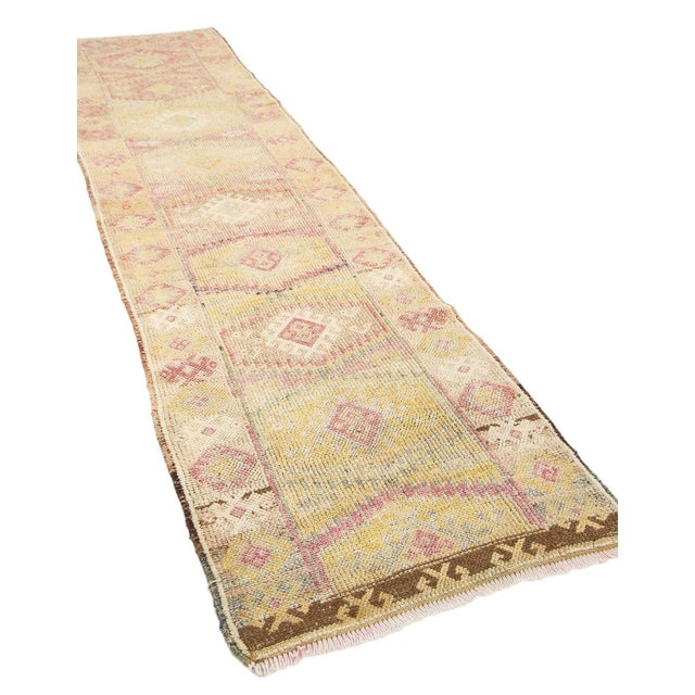 Mid-Century Modern Faded Vintage Decorative Herki Runner For Sale - Image 3 of 7