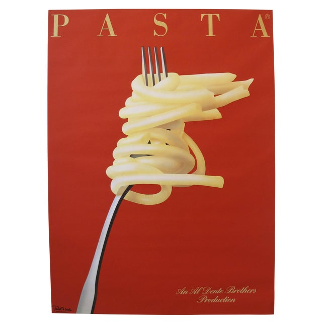 1986 French Art Deco Poster, Pasta: An Al Dente Brothers Production For Sale