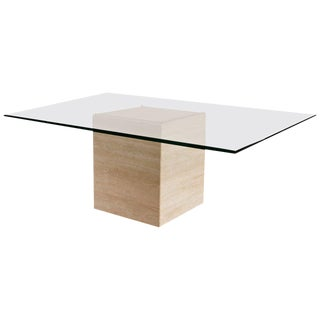Glass and Travertine Coffee Table by Roger Vanhevel, Belgium
