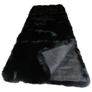 Black Fox Fur Throw with Italian Cashmere Lining