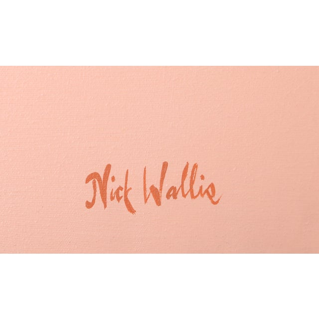 Artist: Nick Wallis Title: Parallels on Peach Year: circa 1980 Medium: Acrylic on Canvas, signed l.r. Size: 60 x 48 in....