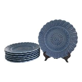 Bordallo Pinheira Blue Basketweave Dinner Plates - Set of 5 For Sale