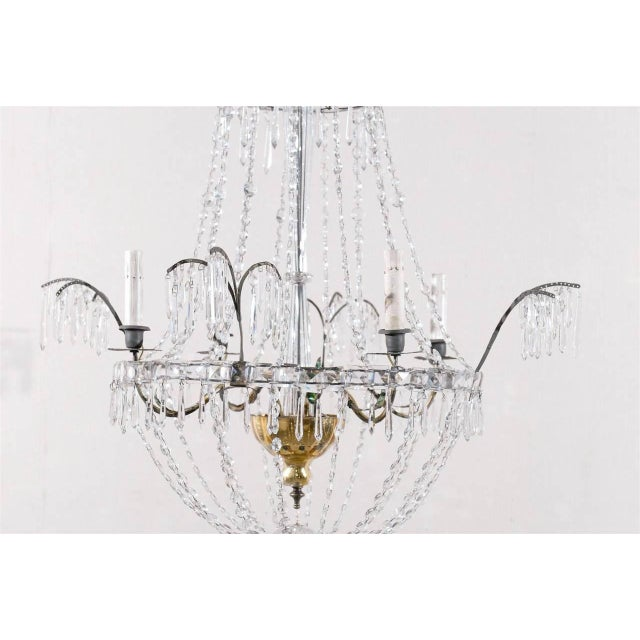 Italian Crystal Four-Light Chandelier With Crystal Center Column For Sale - Image 4 of 11