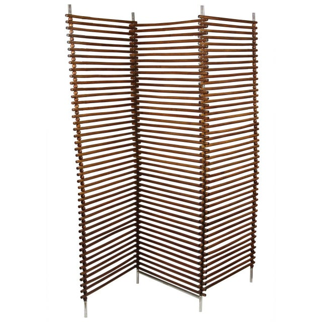 Mid Century Wood Stick & Ball Screen - Image 1 of 7