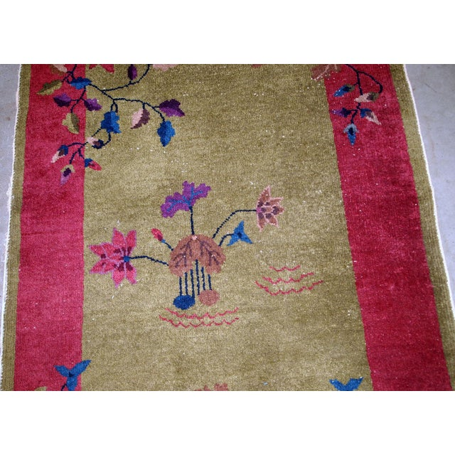 Art Deco 1920s, Handmade Antique Art Deco Chinese Rug 3.1' X 4.10' For Sale - Image 3 of 11
