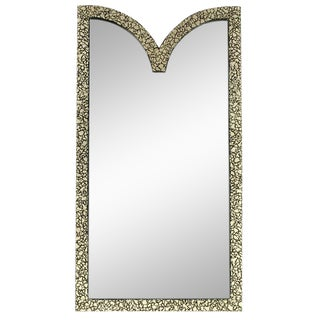 "48""Tall Faux Mother of Pearl & Black Lacquer Mirror by Baker. For Sale"