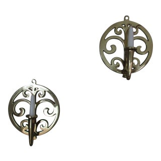 Vintage Brass Wall Candle Holders - A Pair For Sale