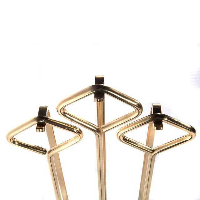 1970's VINTAGE BRASS AND GLASS FIREPLACE TOOL SET For Sale - Image 10 of 11