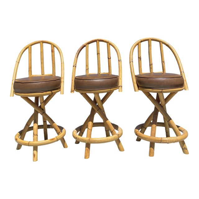 Real Bamboo Counter Stools With Twist Legs Set of Three For Sale