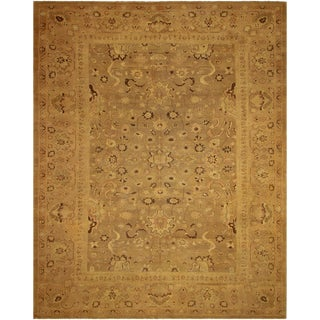 Vintage Antique Caitlyn Tan/Tan Hand-Knotted Rug - 13'2 X 16'8