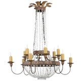 Image of Niermann Weeks Crystal and Bronze Campaign Chandelier Having 12 Lights For Sale