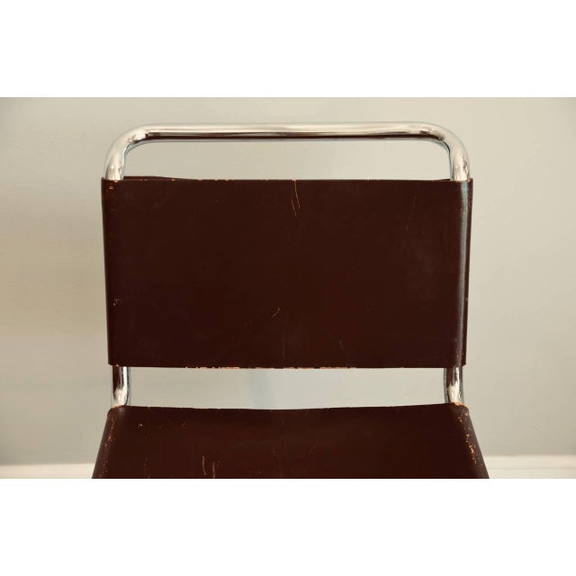 Set of Four Classic Thick Leather and Chrome Mr Chairs by Mies Van Der Rohe For Sale In Los Angeles - Image 6 of 10