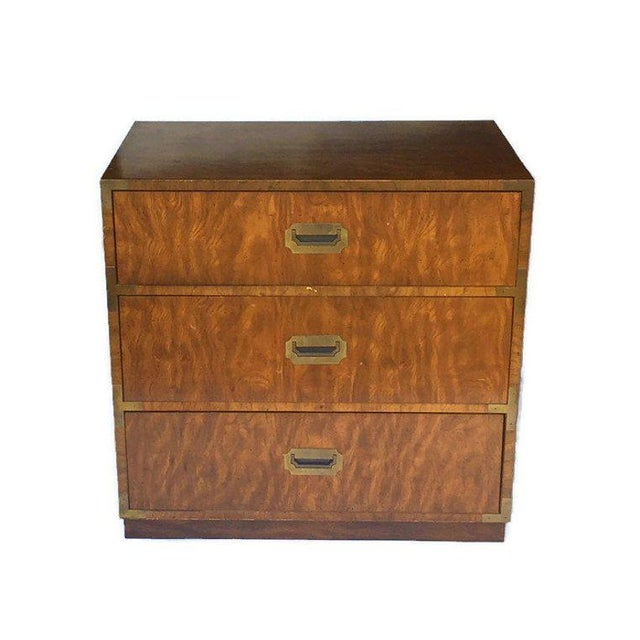 Brass 1970s Campaign Dixie Furniture Company 3 Drawer Matching Bachelor Chests - a Pair For Sale - Image 7 of 12