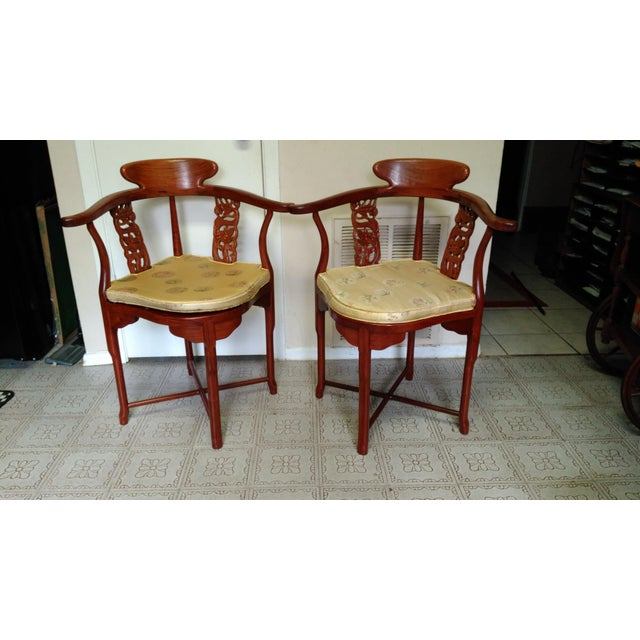This set includes 2 beautiful Dragon carved Chinese Solid Rosewood Corner/Side Armchairs Set in great condition. The...