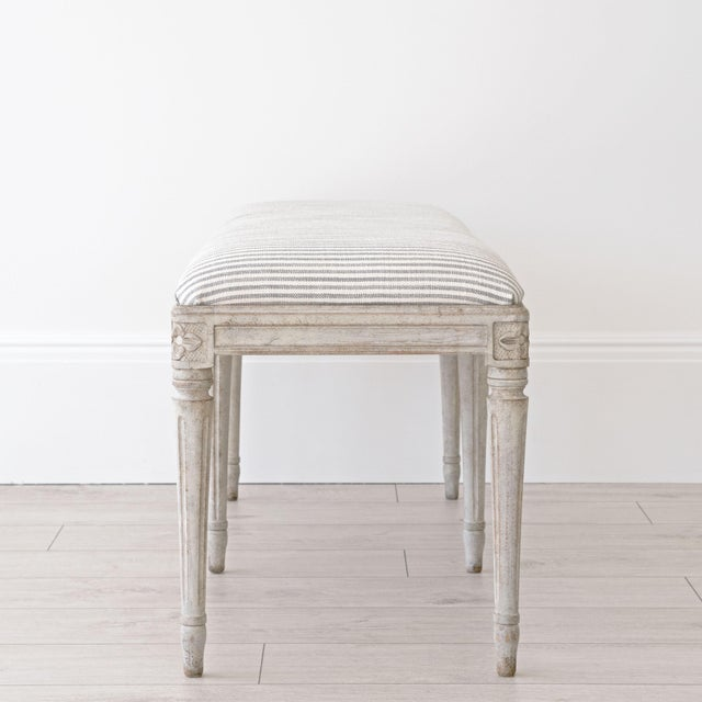 Not Yet Made - Made To Order Luna Swedish Gustavian Stool For Sale - Image 5 of 10