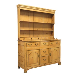 Antique Pine Chippendale Style Stepback Hutch For Sale