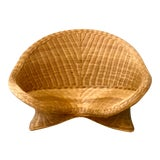 Image of Vintage Woven Rattan Meditation Chair For Sale