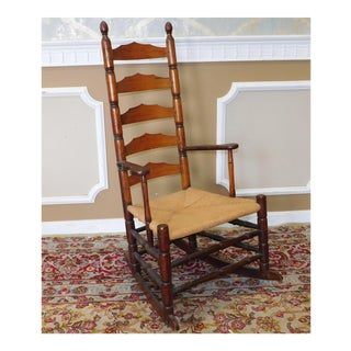 Antique 19th Century New England Maple Shaker Ladder Back Rocker Rocking Chair C1830 For Sale