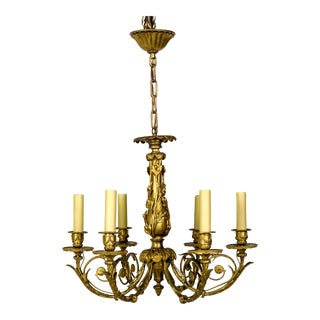 Art Nouveau Gilt Bronze Chandelier With Ladybugs & Flora Scrolls For Sale