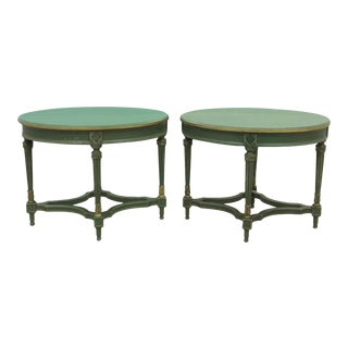 Neoclassical Oval End Tables - a Pair For Sale