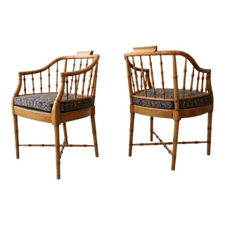 Pair of Vintage Bamboo Regency Chippendale Chinoiserie Style Side Accent Chairs For Sale
