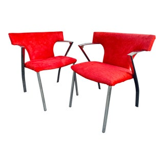 Red Faux Cowhide Chairs - a Pair For Sale