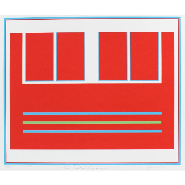 "Abstract Gwen Stone ""Two Divided Squares"" Red Abstract Serigraph, 1979 For Sale - Image 3 of 3"