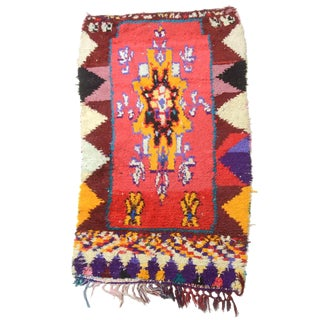 Mid 20th Century Moroccan Berber Hand Knotted Wool Rug-3′6″ × 6′3″ For Sale