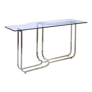 1980s Hollywood Regency Sculptural Brass Console Table For Sale