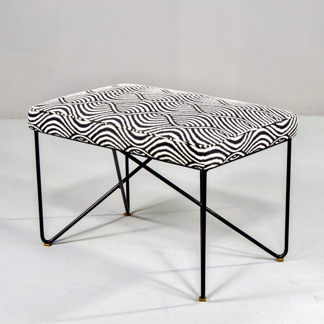 Italian Mid Century Style Bench With Black Iron Hairpin Legs For Sale - Image 4 of 11