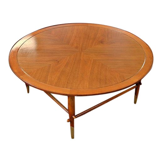 lane mid century danish style copenhagen round coffee table chairish. Black Bedroom Furniture Sets. Home Design Ideas