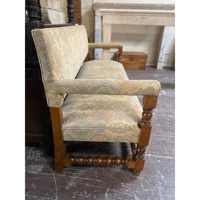 Antique French Upholstered Bench For Sale - Image 4 of 6