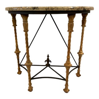 Midcentury Demilune Table With Ornate Wrought Iron Base & Italian Marble Top For Sale