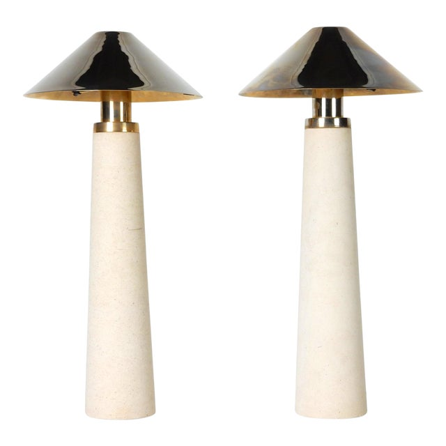 Documented Karl Springer Design Stone Lighthouse Table Lamp - A Pair For Sale