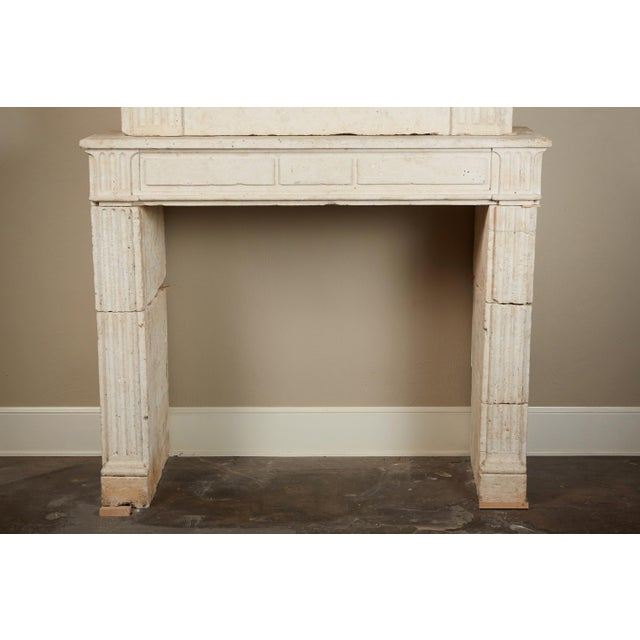 18th Century Neoclassical French Limestone Fireplace Surround For Sale In Los Angeles - Image 6 of 9