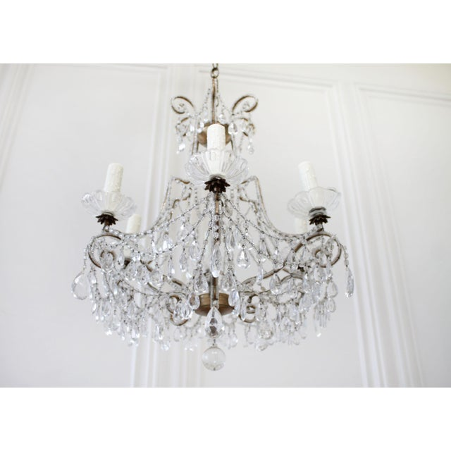 French Provincial Antique French Beaded Arm Chandelier For Sale - Image 3 of 9