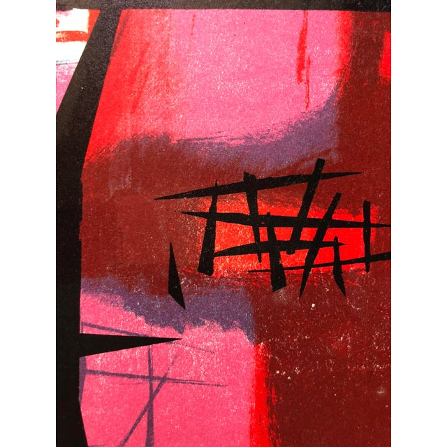 """Blue Signed Jerry Opper Bay Area Artist Abstract Print """"Frame of Reference"""" For Sale - Image 8 of 10"""
