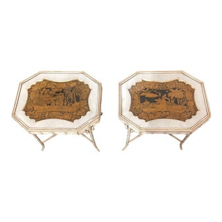 Vintage Faux Bamboo Tray Stands - A Pair
