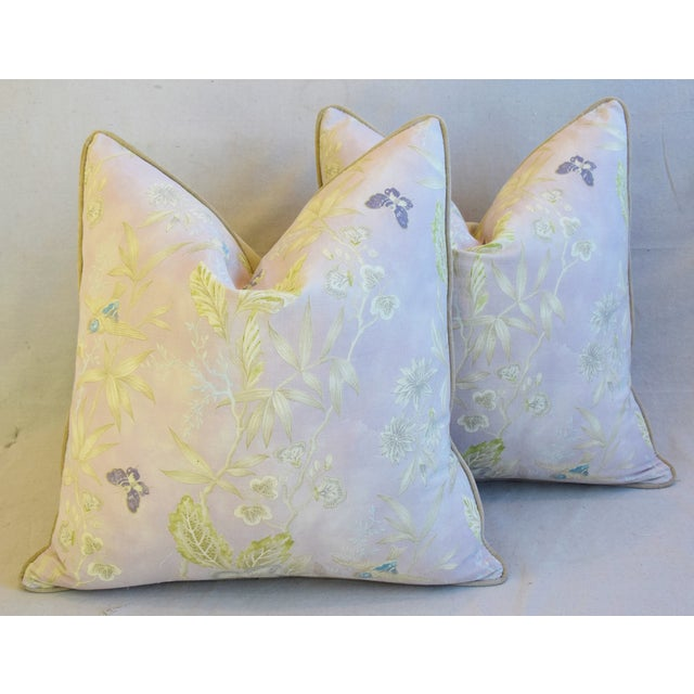 """Pale Lavender Wildflower & Butterfly Linen Feather/Down Pillows 23"""" Square - Pair For Sale - Image 12 of 13"""