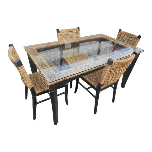 Tommy Bahama Woven Cord Dining Set - 5 Pieces For Sale