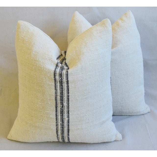 """French Woven Black Striped Grain Sack Feather/Down Pillows 20"""" X 21"""" - Pair For Sale - Image 12 of 12"""